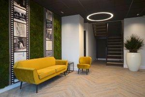Dit is een interieur met een moswand en een mummie palm. De GroenStyliste van StudioCentro geeft je in Ede graag advies over deze makkelijke kamerplanten.